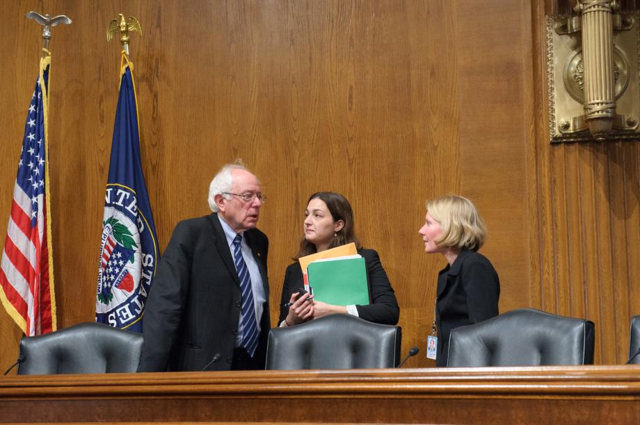 Sen. Sanders with the staffers