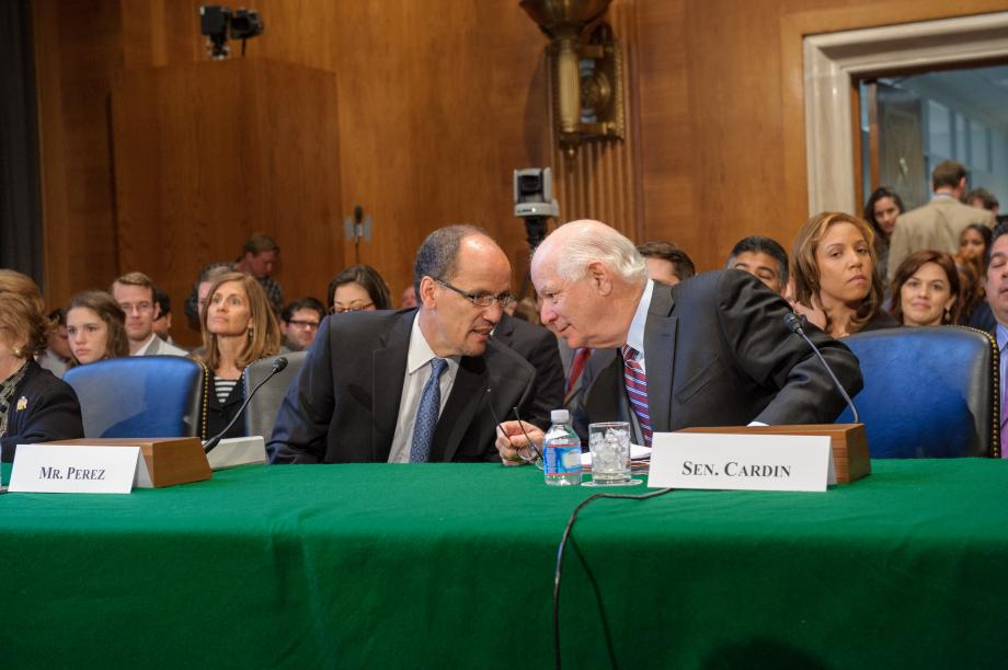 Mr. Perez and Sen. Cardin at the confirmation hearing