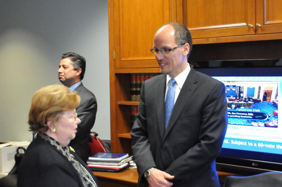 Sen. Mikulski talking to Mr. Perez